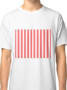 White & Coral Red Stripes Pattern Classic T-Shirt