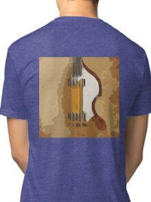 Guitar Bass abstract portrait, vintage brown background Tri-blend T-Shirt