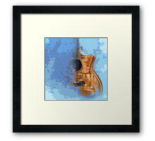 Guitarra acustica con fondo azul Framed Print