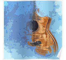 Guitarra acustica con fondo azul Poster