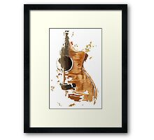 Acoustic guitar on mid century background Framed Print