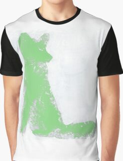 Mint Green Finger Painted Arctic Fox Graphic T-Shirt