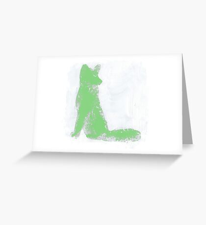 Mint Green Finger Painted Arctic Fox Greeting Card
