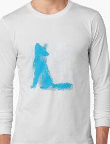 Cyan Finger Painted Arctic Fox Long Sleeve T-Shirt