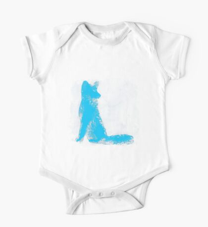 Cyan Finger Painted Arctic Fox One Piece - Short Sleeve