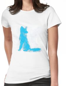 Cyan Finger Painted Arctic Fox Womens Fitted T-Shirt