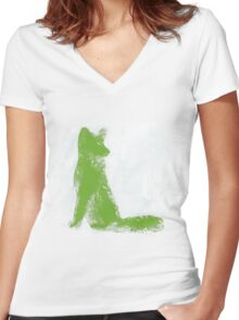 Lime Green Finger Painted Arctic Fox Women's Fitted V-Neck T-Shirt