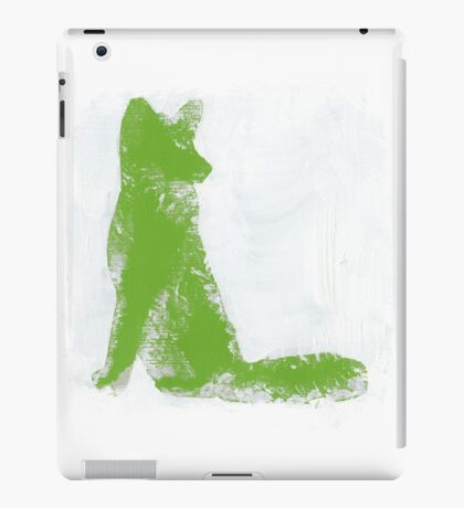 Lime Green Finger Painted Arctic Fox iPad Case/Skin
