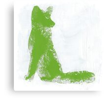 Lime Green Finger Painted Arctic Fox Canvas Print