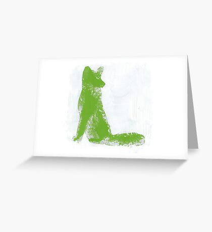 Lime Green Finger Painted Arctic Fox Greeting Card