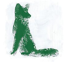 Forest Green Finger Painted Arctic Fox Photographic Print