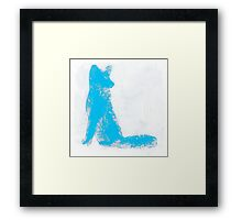 Cyan Finger Painted Arctic Fox Framed Print