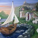 Country Cottage Sail Boat by L.W. Turek