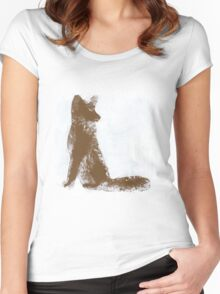 Brown Finger Painted Arctic Fox Women's Fitted Scoop T-Shirt