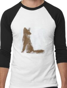 Brown Finger Painted Arctic Fox Men's Baseball ¾ T-Shirt