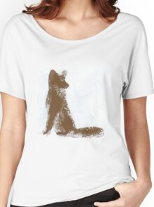 Brown Finger Painted Arctic Fox Women's Relaxed Fit T-Shirt