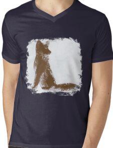 Brown Finger Painted Arctic Fox Mens V-Neck T-Shirt