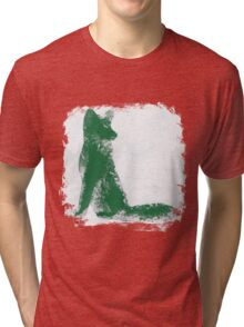 Forest Green Finger Painted Arctic Fox Tri-blend T-Shirt