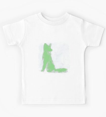 Mint Green Finger Painted Arctic Fox Kids Tee