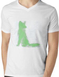 Mint Green Finger Painted Arctic Fox Mens V-Neck T-Shirt