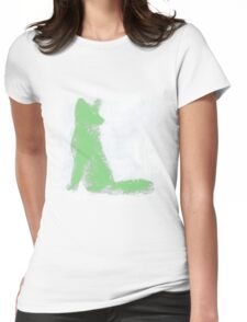 Mint Green Finger Painted Arctic Fox Womens Fitted T-Shirt