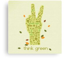 Earth Day Eco-Friendly Environmental Peace Hand Think Green Canvas Print