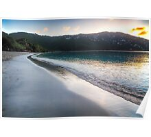Tranquil Caribbean Beach at Sunset Poster