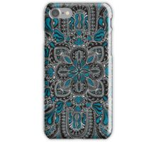 Black, white, turquoise mandala pattern  iPhone Case/Skin