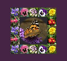 Painted Lady and Summer Flowers Collage Womens Fitted T-Shirt