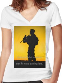 Stand Up Women's Fitted V-Neck T-Shirt