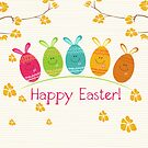 Cute Adorable Cartoon Easter Egg Bunnies and Flowers Happy Easter by doonidesigns