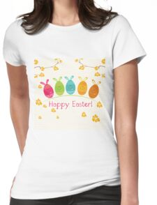 Cute Adorable Cartoon Easter Egg Bunnies and Flowers Happy Easter Womens Fitted T-Shirt