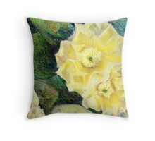 Yellow Prickly Pear Blossoms Throw Pillow