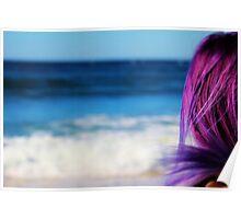 Blue Ocean & Purple Hair Poster