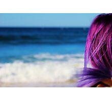 Blue Ocean & Purple Hair Photographic Print