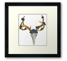 Deer Skull with Blue Roses Framed Print