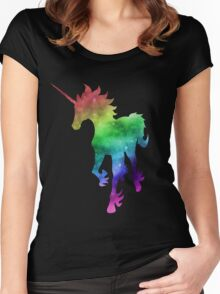 Rainbow Galaxy Unicorn Women's Fitted Scoop T-Shirt