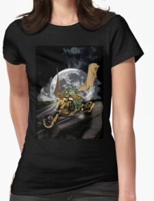 Drag-racing Dragon and Moon Fantasy Artwork  Womens Fitted T-Shirt