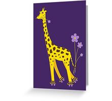 Purple Cartoon Funny Giraffe Roller Skating Greeting Card