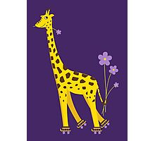 Purple Cartoon Funny Giraffe Roller Skating Photographic Print