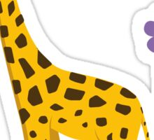 Purple Cartoon Funny Giraffe Roller Skating Sticker