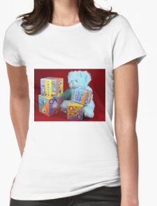 Teddy at Play Womens Fitted T-Shirt