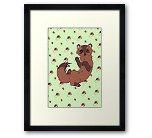 Ferret - Green Framed Print