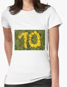 number ten drawn with dandelion on the lawn Womens Fitted T-Shirt