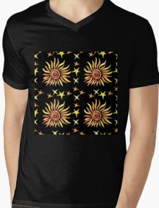 Hand drawn watercolor seamless pattern.  Mens V-Neck T-Shirt
