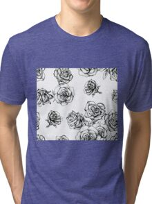 Flower roses graphic black and white  had drawing sketch Tri-blend T-Shirt