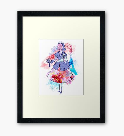 Silhouette of an elegant Dior woman Framed Print