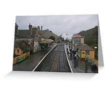 Wet day at Corfe Castle. Greeting Card