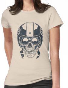 Skull in Racer Helmet Womens Fitted T-Shirt