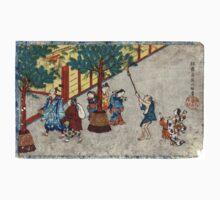 January - Itcho Hanabusa - 1830 - woodcut Kids Tee